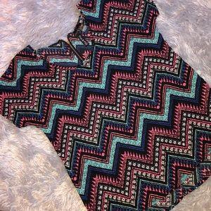 Fun & Flirt Black & Bright Colored Patterned Top
